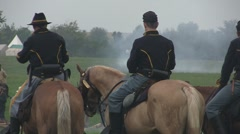 Stock Footage - Union Cavalry looking over battlefield - Shallow  DOF - stock footage