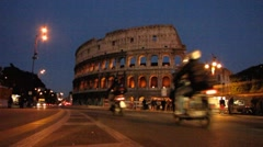 Rome rush-hour traffic Colosseum Colosseo Coliseum - stock footage