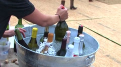 Wine and alcohol tub at a wedding celebration Stock Footage