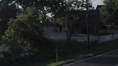 Stock Footage Driving past Gettysburg Battlefield - Fence line - buildings Stock Footage