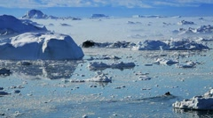 Small Craft Between Ice Floes & Icebergs Stock Footage
