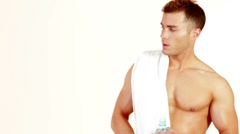 Portrait of handsome muscular man on white background Stock Footage