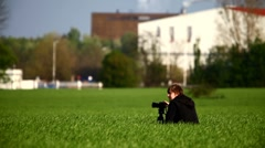 Photographer leaving Stock Footage