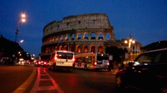 Rome rush-hour traffic Colosseum Colosseo Coliseum Stock Footage