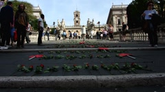 Rome demonstration against Italian gov. for refugees Stock Footage