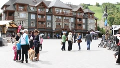 Travelers gather at the Blue Mountains resort Stock Footage