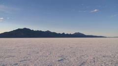 Bonneville Salt Flats with tire tracks - stock footage