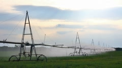 automatic irrigation of agriculture field - stock footage