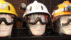 Mannequins with protective helmet and goggles Stock Footage