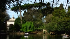 Rome park Villa Borghese boating in pond Stock Footage