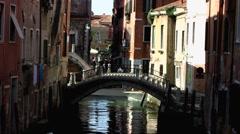 Morning Venice Venezia Veneto canal traffic Stock Footage