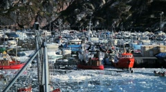 Fishing Harbour in Polar Arctic Region Stock Footage