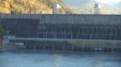 Hydro power plant and bridge (autumn) Stock Footage