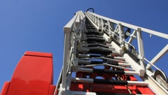 Stock Video Footage of Fire-engine with big fire escape staircase