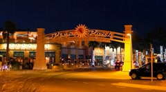 Pier Park entrance at night in Panama City Beach - stock footage