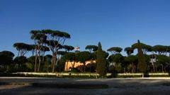 Rome Villa Borghese Park pine tree Stock Footage