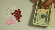 American Dollar USD, Counting Drugs and Money, Health Care, Colorful Pills Stock Footage