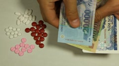 Vietnamese Dong VND, Counting Drugs and Money, Health Care, Colorful Pills Stock Footage