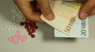 Euro EUR, Counting Drugs and Money, Health Care, Colorful Pills Stock Footage