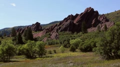 Roxborough State Park-- Slanted Red Rocks Stock Footage