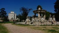 Rome Park Doria Pamphilj ruins fountain Stock Footage