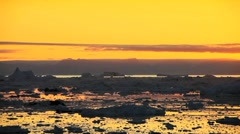 Pan View of Golden Sunset over Ice Floes Stock Footage
