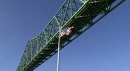 The American Flag under a bridge Stock Footage