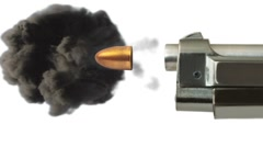 Extreme slow motion of bullet leaving gun barrel with explosion. Stock Footage