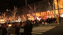 Crosswalk at Omote-Sando Hills New Year's illumination -- Tokyo Time lapse Stock Footage