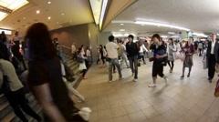 Shinjuku Station underground passage, Tokyo Japan time lapse Stock Footage
