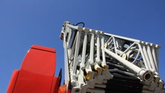 Fire-engine with big fire escape staircase Stock Footage