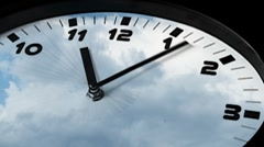 Clock in time-lapse loop sequence with stormy clouds in the background - stock footage