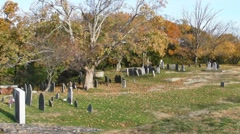 New England cemetery in the fall Stock Footage