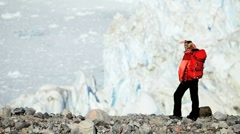 Young Female Hiking in an Arctic Landscape Stock Footage