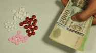 Hungarian Forint HUF, Counting Drugs and Money, Health Care, Colorful Pills Stock Footage