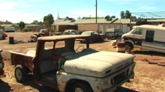 Junk Cars In Western Border Town Stock Footage