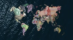 Financial World  with Currencies as Countries Stock Footage