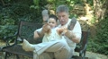 Grandfather playing with little grandson 2 Footage