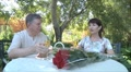 elderly man and woman drinking champagne HD Footage