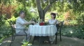 elderly man and woman in the garden Footage