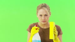 Close up of woman with sponge and spray bottle Stock Footage