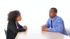 Two business people talking face to face Stock Footage