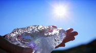 Stock Video Footage of Hands Examining Glacial Ice