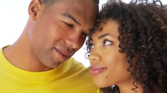 Close up of African-American couple kissing Stock Footage