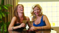 Two women friends talking at the bar - stock footage