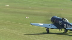 Hawker Seafury on airfield Stock Footage