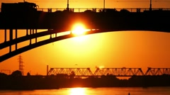 Two bridges at a sunset Stock Footage