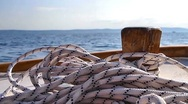 Wooden boat sailing Stock Footage