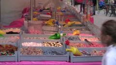 Candy at market Stock Footage