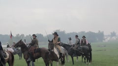 Stock Footage - Union Soldiers over run, surrender to Confederate Cavalry Stock Footage